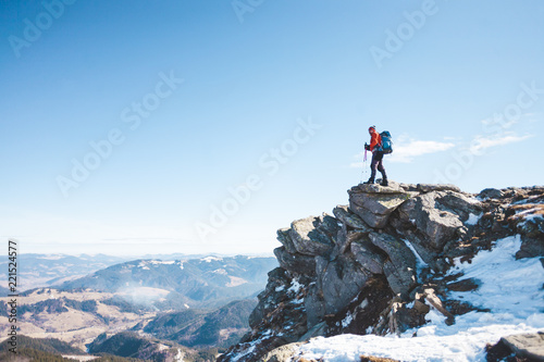Aluminium Prints Mountaineering The climber on the top of the mountain.