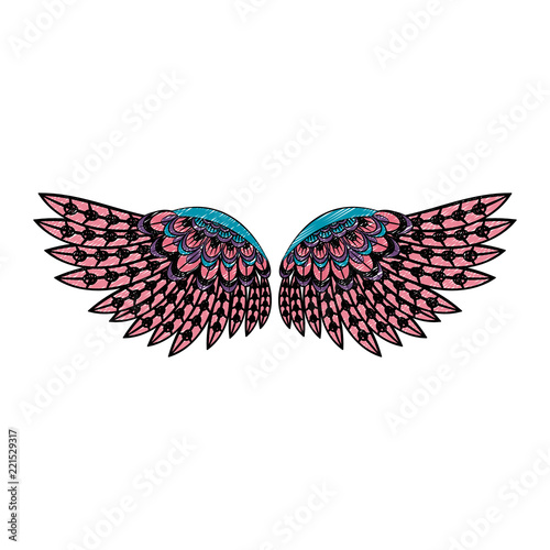 Fotografie, Tablou  Bird wings isolated scribble