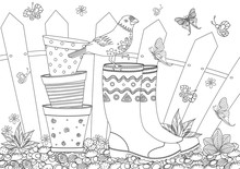 Rustic Landscape With Gardening Equipment For Your Coloring Book
