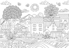 Funny Cityscape For Coloring Book