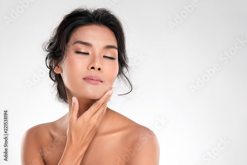 Fotografie, Obraz  Beautiful Young Asian Woman with Clean Fresh Skin