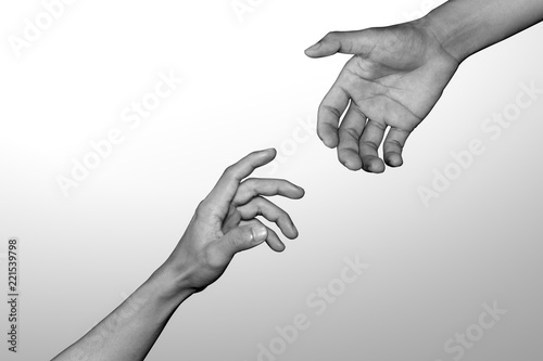 Fototapeta Helping hand, Rescue, Monochrome, black and white image.