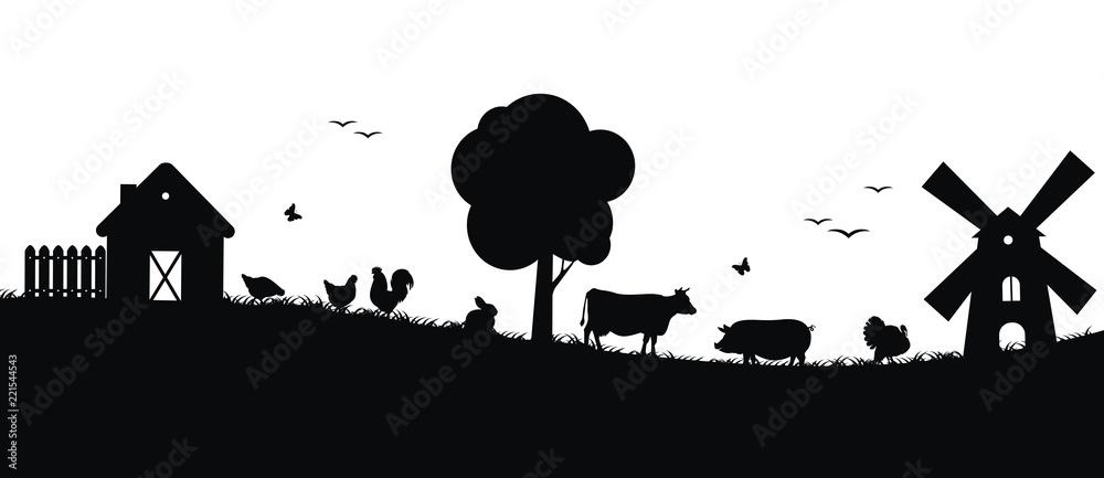 Fototapety, obrazy: Силуэты животных на ферме