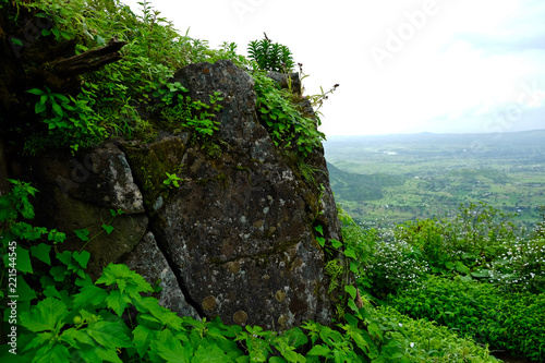 Deurstickers Zwart Beautiful landscape aerial, and closeup Photos of nature, roads, grass, trees, village, and farm land. Lush green monsoon nature mountains, hills, Purandar fort, Pune, Maharashtra, India