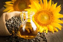 Closeup Photo Of Sunflower Oil...