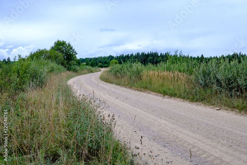 Foto op Plexiglas Khaki simple gravel country road in summer in forest