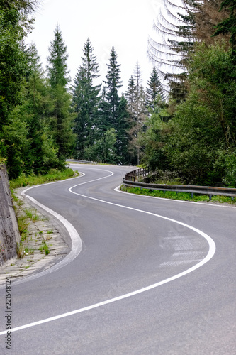 Poster Donkergrijs asphalted road leading up to the mountains in forest