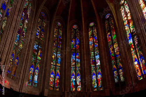 Colorful stained glass windows in the apse of the cathedral of Saint-Fulcran in Canvas Print