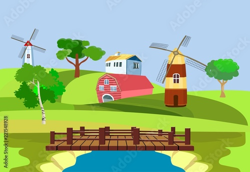 In de dag Lime groen Countryside view, green hills,Farm houses and mills. Vector art