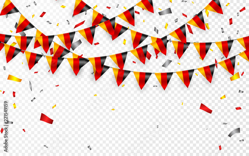 Germany flags garland white background with confetti, Hang