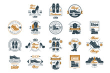 Footwear Store Logo Set, Shoe Style Premium Quality Estd 1963 Vector Illustrations