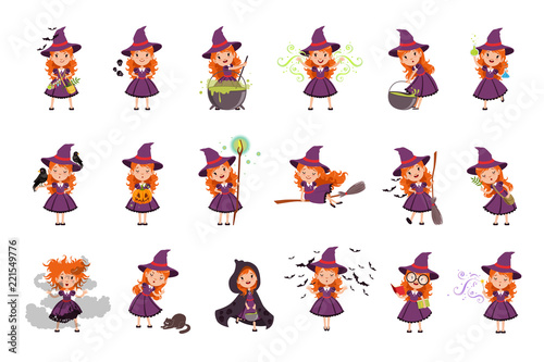 Little girl witch set wearing purple dress and hat Canvas