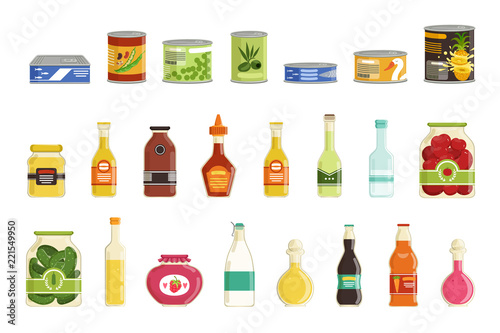 Canned goods vector set