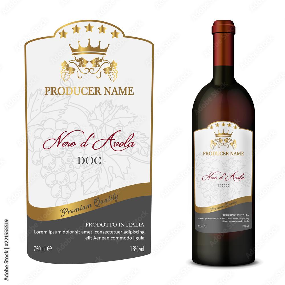 Fototapeta Wine Label with bottle Five Stars