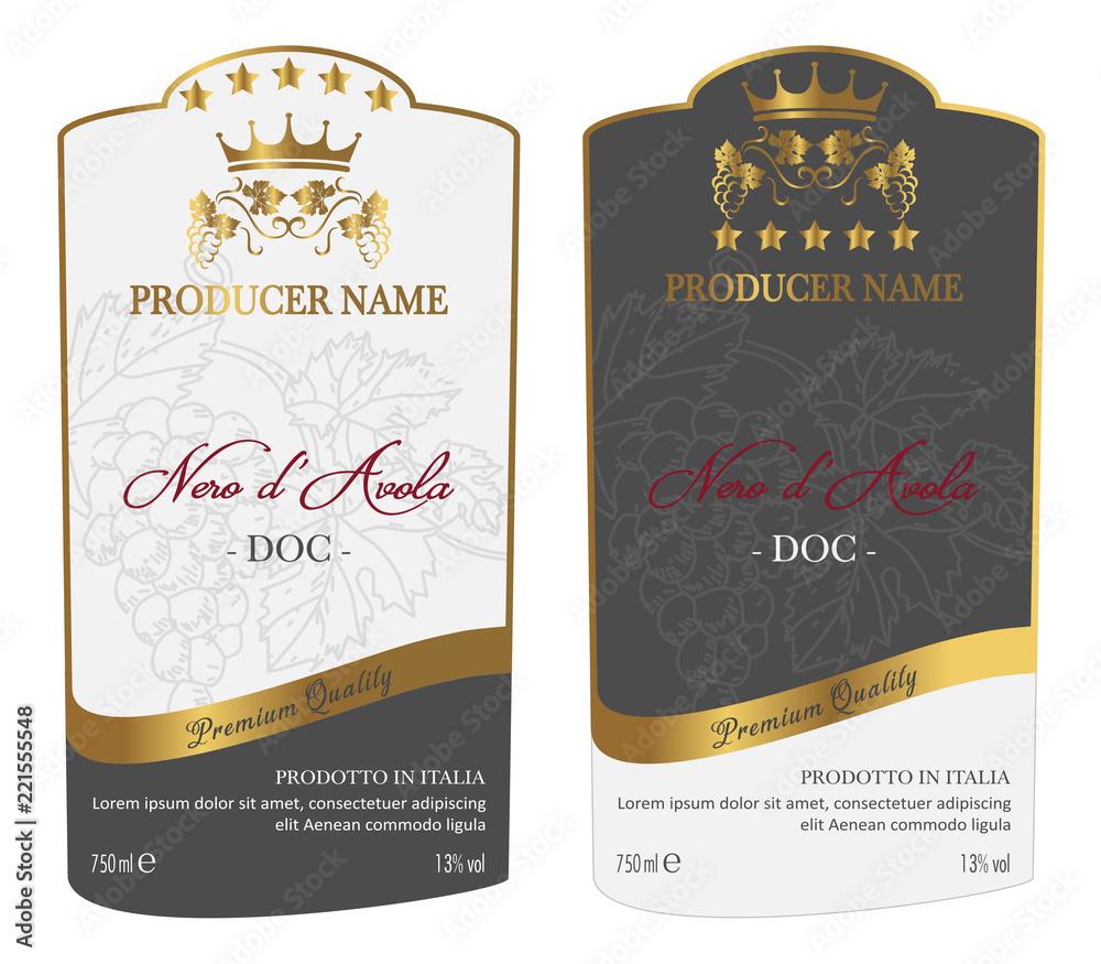 Fototapeta Set of Wine Label