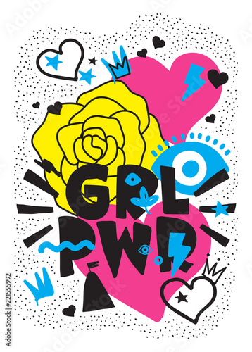 Foto GRL PWR short quote. Girl Power cute hand drawing illustration