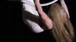 Woman acrobat make trick in ring