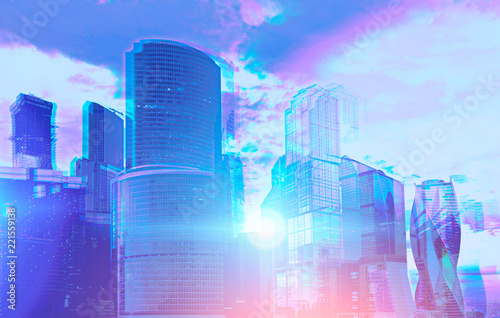Staande foto Stad gebouw Moscow city view on sunny day 3d glasses effect