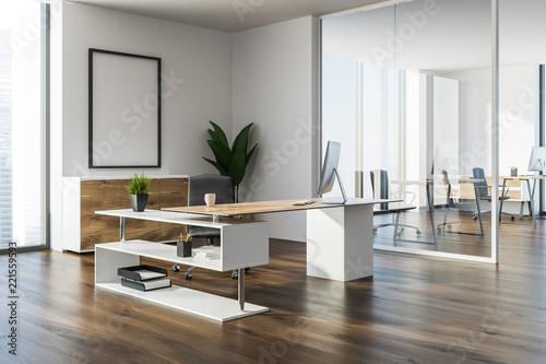 Obraz White wall manager office corner, poster - fototapety do salonu