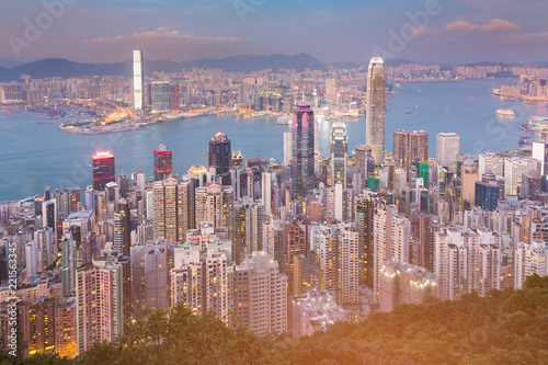 Staande foto Stad gebouw Central business downtown Hong Kong office building, cityscape background