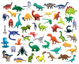 Fototapeta Dinusie - Various Cute Colorful Dinosaur Characters Cartoon Vector