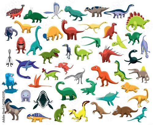 Photo  Various Cute Colorful Dinosaur Characters Cartoon Vector