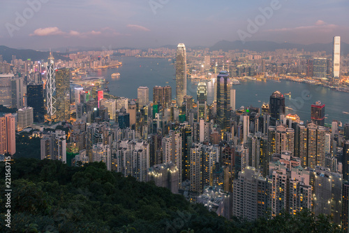 Staande foto Stad gebouw Hong Kong central business downtown aerial view over Victoria Bay