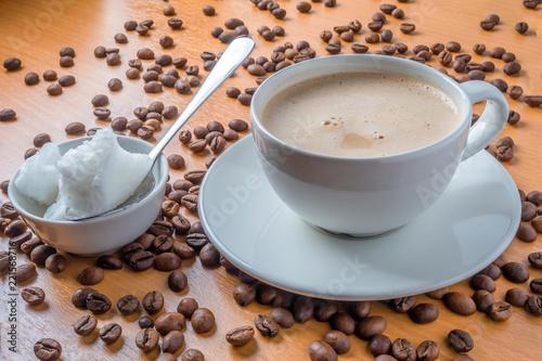 Bulletproof coffee latte, blended with coconut oil  Soft focus - Buy