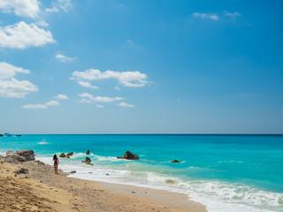 Avali beach, Lefkada island, Greece. Beautiful turquoise sea on the island of Lefkada