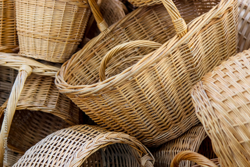 Fototapety, obrazy: Contemporary hand-made baskets as a background