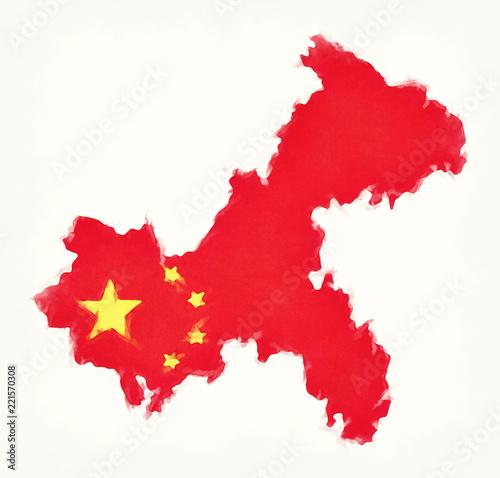 Tuinposter China Chongqing China watercolor map with Chinese national flag illustration