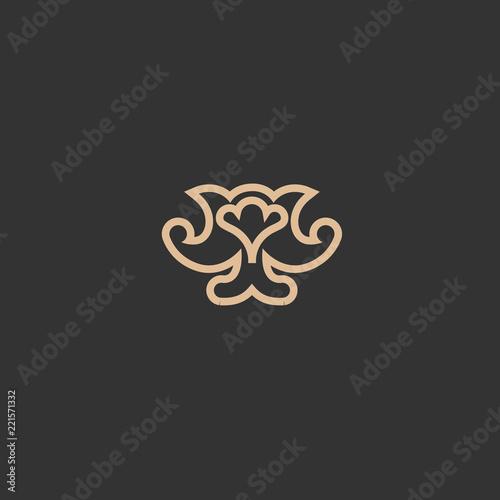 Campanula Logo Wedding Floral Icon Luxury Retro Emblem