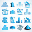 City buildings business financial office vector design set. Futuristic architecture illustrations collection. Real estate realty office center designs.