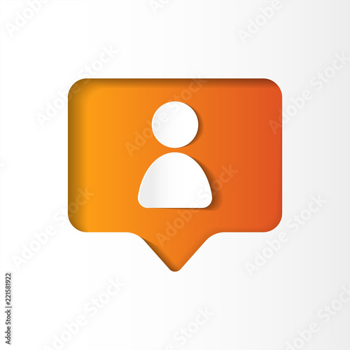 Fotografija  Social network orange icon follower, new subscriber, paper cut style