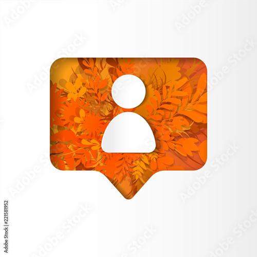 Fotografija  Social network orange icon follower, new subscriber with white plants, grass, le