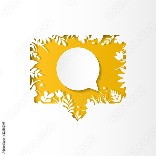 Fotografija  Social network yellow icon new comment with white plants, grass, leaves and flow