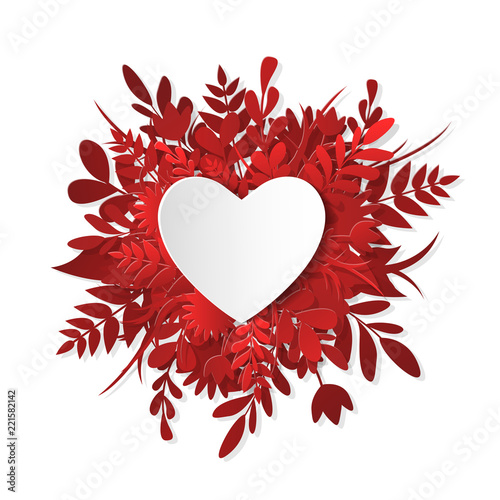Fotografija  Like icon, paper cut heart on the red plants, grass, leaves and flowers
