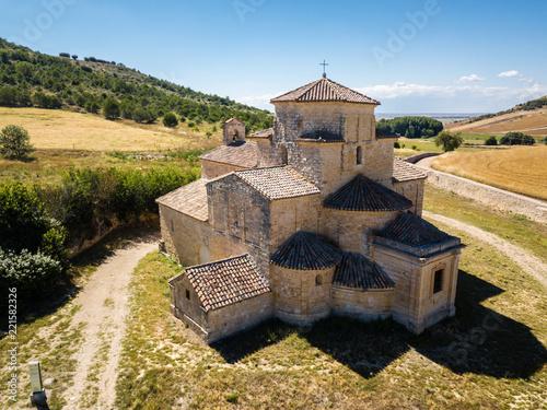 Aerial view of a church in Urueña in Spain