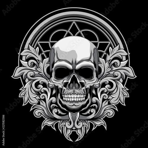 Foto auf AluDibond Aquarell Schädel Floral Skull vector illustration on dark background