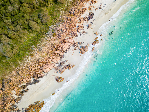 Poster Turquoise Aerial photo of Meelup Beach with clear turquoise water near Dunsborough in the South West region of Western Australia, Australia.