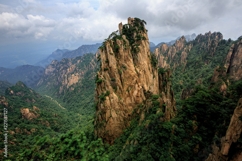 Huangshan China National Park - Anhui Province, Chinese Mountain Peak. Viewing Platform, Yellow Granite Mountains with Canyon, Exotic Pine Trees and Forest, Jagged Cliffs, UNESCO World Heritage Site