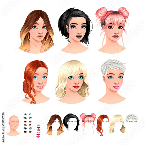 Avatars. 6 hairstyles, 6 make-up, 6 mouths, 1 head.