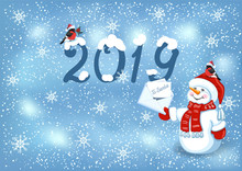 Christmas Card With Snowman In Santa Cap With Christmas Letter For Santa Claus, Bullfinches And Inscription 2019