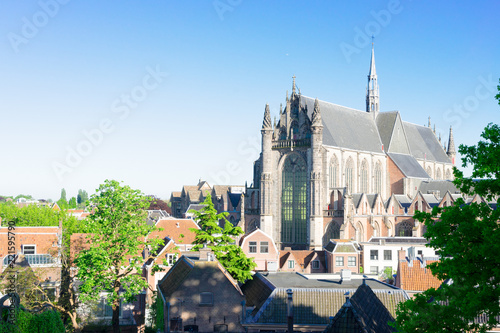 Hooglandse Kerk gothic church and roofs of Leiden Netherlands
