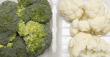 Broccoli And Cauliflower Florets From Top Close Up