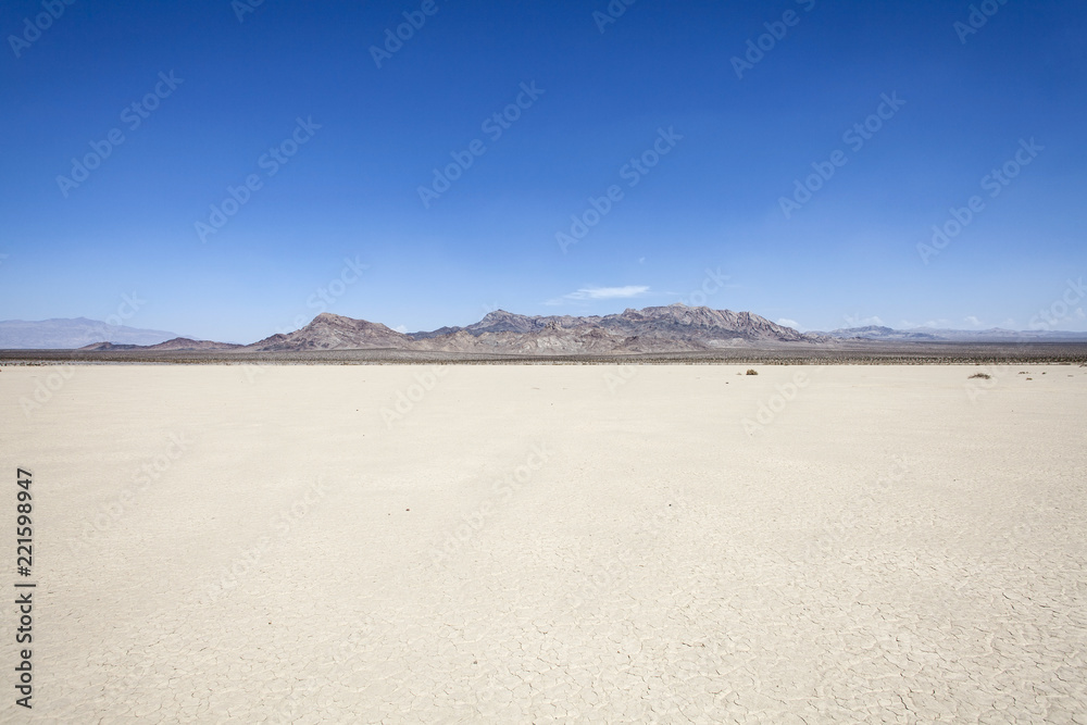 Silurian dry mud flat lake bed near Death Valley in California's vast Mojave desert.