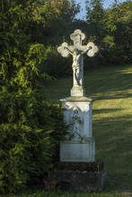 Old Wayside Shrine. Jesus On The Cross With Holy Mary. Roadside Shire. Hungary Countryside.