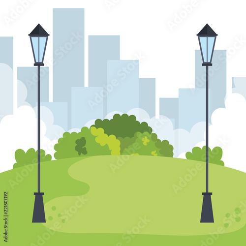 Foto  park landscape with lamps scene icon