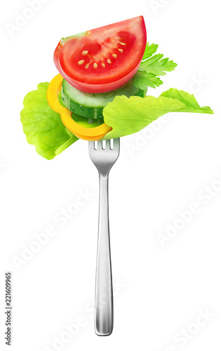Foto Isolated cut vegetables