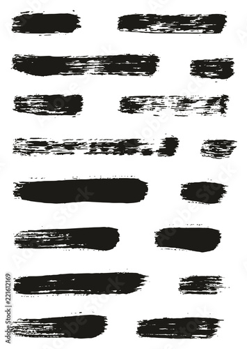 Fototapety, obrazy: Paint Brush Lines High Detail Abstract Vector Background Set 37